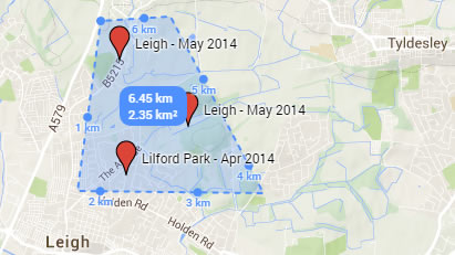 Alabama Rot cluster in Leigh, Greater Manchester