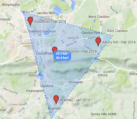 Figure 3: Alabama Rot confirmed cases near Guildford, Surrey
