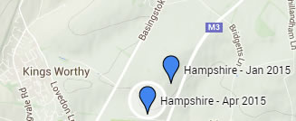 Confirmed cases of Alabama Rot in Hampshire.