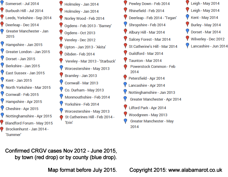 Confirmed CRGV data compiled before July 2015 by Chris Street of alabamarot.co.uk